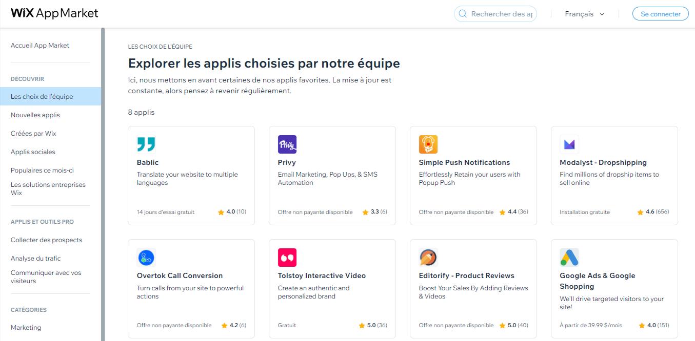 Liste des applications de Wix