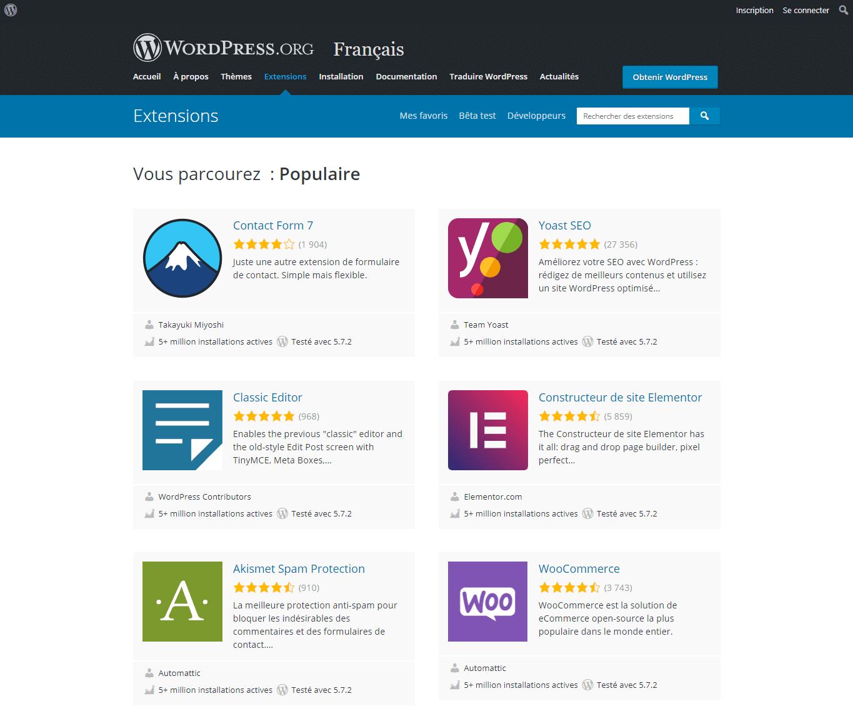 Liste des extensions et plugins de WordPress