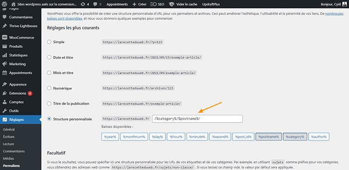Réglage des permaliens de WordPress