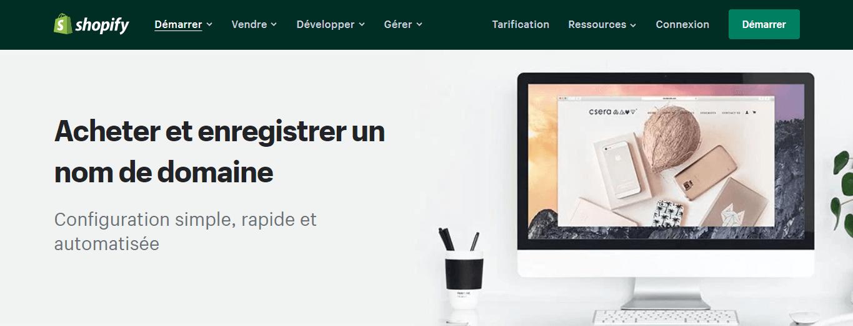 Achetez un nom de domaine avec Shopify