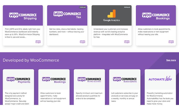 Une multitude d'extensions et de plugins avec WooCommerce